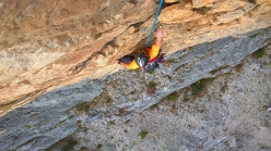 Marco Ghidini climbing the lower section of Born to be Wild up Monte Casale Primo Pilastro, Valle del Sarca