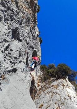Stefano Michelazzi on the A1 section of Born to be Wild up Monte Casale Primo Pilastro, Valle del Sarca