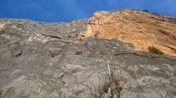 Stefano Michelazzi on the black slabs of Born to be Wild up Monte Casale Primo Pilastro, Valle del Sarca