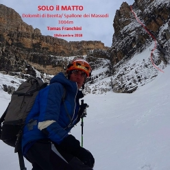 Tomas Franchini below Spallone dei Massodì, Brenta Dolomites where on 19/12/2018 he made the first ascent, on his own, of Solo il Matto