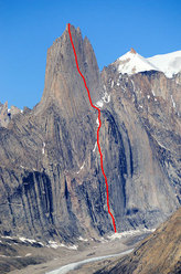 Grundtvigskirken (1977m) and the line of ascent of 'Eventyr' up the 1300m high East Face, 40 pitches up to 7a+.