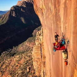 Zion National Park: Ryan Kempf making the first ascent of Museum Piece with Paul Gagner