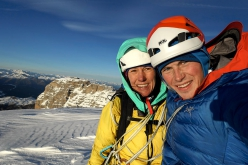 Ines Papert and Luka Lindič on the summit of Cima Tosa (Brenta Dolomites) on 01/01/2019 after having made the first repeat of Selvaggia sorte