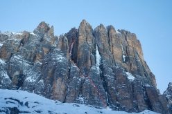 Sau hladno! up Cima Tosa, Brenta Dolomites, first ascended by Luka Lindič and Fabian Buhl. The obvious central drip in prima conditions is Selvaggia Sorte