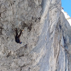 Darek Sokołowskì making the first ascent of Parallel World, a dry tooling climb graded D16 at the crag Tomorrow's World in the Dolomites