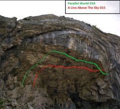 The crag Tomorrow's World in the Dolomites with the routes A Line Above the Sky D15 and Parallel World D16