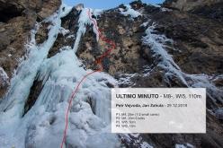 The line of Ultimo Minuto in Langental, Dolomites (Petr Vejvoda, Jan Zahula 12/2018)