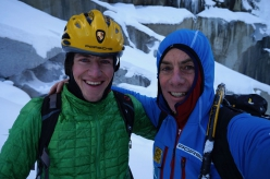 Max Sparber and Thomas Bubendorfer after the first ascent of No Country for Old Men at Rein in Taufers, Italy