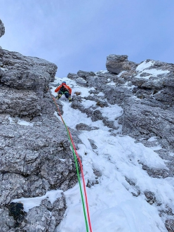 Mark Oberlechner making the first ascent of Kalipe, Peitlerkofel, Dolomites with Simon Gietl on 26/01/2019