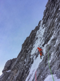 Simon Gietl making the first ascent of Kalipe, Peitlerkofel, Dolomites with Mark Oberlechner on 26/01/2019