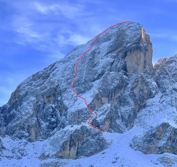 The route line of Kalipe up the North Face of Peitlerkofel, Dolomites (Simon Gietl, Mark Oberlechner 26/01/2019)