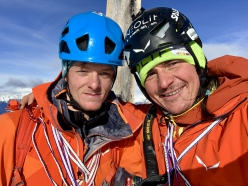 Mark Oberlechner and Simon Gietl on the summit of Peitlerkofel, Dolomites on 26/01/2019 after having made the first ascent of Kalipe up the mountain's North Face