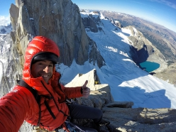 Eneko Pou and the spectacular view from Haizea, Aguja de la S, Fitz Roy, Patagonia, established January 2019 with Iker Pou