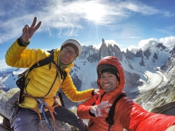Iker Pou and Eneko Pou ion the summit of their new climb Haizea, Aguja de la S, Fitz Roy, Patagonia (01/2019).  Cerro Torre in the background.