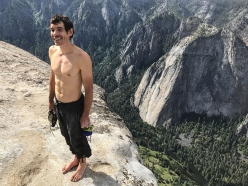 Alex Honnold after his free solo ascent of Freerider, El Capitan, Yosemite, USA on 3 June 2017.