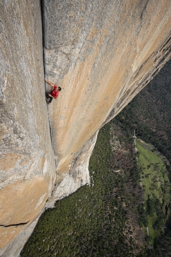 Alex Honnold free solo climbing Freerider, El Capitan, Yosemite, USA on 3 June 2017. In doing so he has become the first person to climb El Cap without ropes