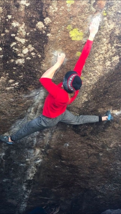 Isabelle Faus sending Memory is Parallax at Elkland, Rocky Mountain National Park, USA, her third 8B+ boulder problem