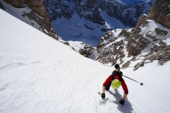 Ascending prior to the first ski descent of the South Face of Cima Mandron in the Brenta Dolomites (Luca Dallavalle, Roberto Dallavalle 16/02/2019)