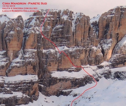 The South Face of Cima Mandron in the Brenta Dolomites and the line first skied by Luca Dallavalle and his brother Roberto on 16/02/2019