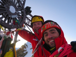 Matterhorn West Face: Marco Farina and Marco Majori on the summit