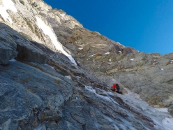 Matterhorn West Face: Marco Farina on the icy slabs halfway up