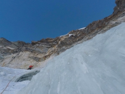 Matterhorn West Face: heading up the the yellow band at halfheight