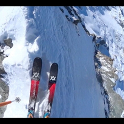 Paul Bonhomme starting to ski down the East Face of Dent Blanche in Switzerland
