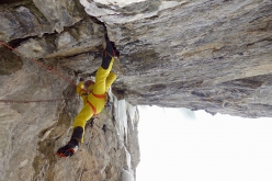 Roger Schaeli making the first ascent of Fäderliecht, a mixed climb at Kandersteg in Switzerland