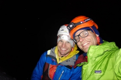 Bernd Rathmayr and Roger Schaeli making the first ascent of Fäderliecht, a mixed climb at Kandersteg in Switzerland