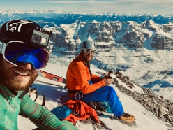 Andrea Cozzini and Claudio Lanzafame on the summit prior to making the first ski descent of the south face of Pietra Grande, Brenta Dolomites, on 14/02/2019