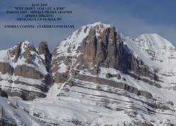 First ski descent of the south face of Pietra Grande, Brenta Dolomites (Andrea Cozzini, Claudio Lanzafame 14/02/2019)