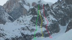 Yellow: Sole, Aiguille de la Brenva, Mont Blanc (Gianpaolo Ducly, Ezio Marlier 12/2018). Red: Million Reasons. Green: the route established by Matteo Pellin and Rudy Buccella