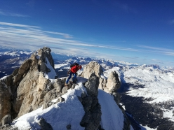 On the summit ridge of Cimon della Pala, Dolomites while making the first ascent of Via degli Allievi (Giuseppe Vidoni, Gabriele Colomba 24/02/2019)
