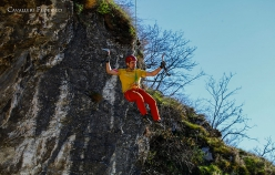Filip Babicz making the first ascent of Uragano Dorato at Bus del Quai, Iseo, Italy