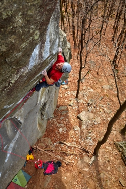Jacopo Larcher at Cadarese climbing his trad testpiece Tribe