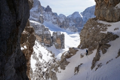 Cima Brenta West Couloir skied by Luca Dallavalle and his brother Roberto on 09/03/2019. There is currently no definite information of previous ski descents of the West Gully but given how logical this line is, it may have been skied previously.