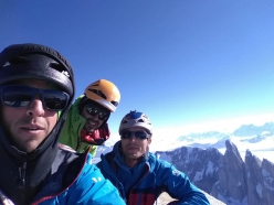 Léo Billon, Max Bonniot, Pierre Labbre on the summit of Fitz Roy in Patagonia after having climbed El Corazon