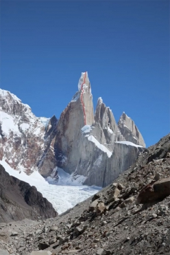 Cerro Torre in Patagonia and the line of the Compressor route, also known as the  South East Ridge