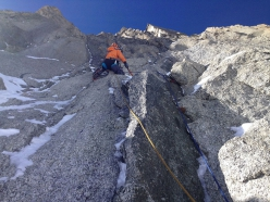 Ezio Marlier establishing pitch 5 of Miss No, Vierge du Flambeau, Mont Blanc, first ascended with Elisabetta Ceaglio in April 2017