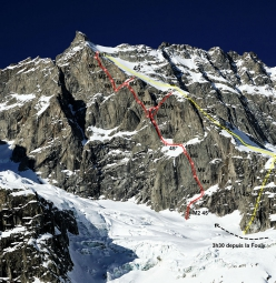 The route line of L'accidentelle et l'accidenté, Aiguille de l'Amône (Simon Chatelan, Silvan Schüpbach 27-28/02/2019)