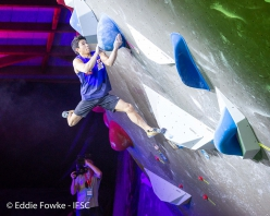 Rei Sugimoto in the finals of the Bouldering World Cup 2019 Meiringen