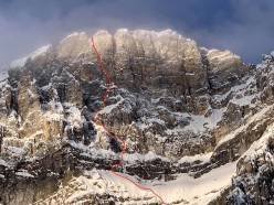The line of The Sound of Silence, East Face of Mount Fay, Canada (1100m, M8 WI5  Brette Harrington, Luka Lindič, Ines Papert 02-03/04/2019)