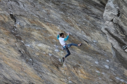 Giuseppe Pippo Nolasco climbing Ground Zero 9a at Tetto di Sarre in Valle d'Aosta, Italy