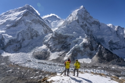 Looking across onto  Everest, Lhotse and Nuptse