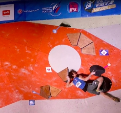 Adam Ondra setting the bar high in the Semifinals of the Moscow stage of the Bouldering World Cup 2019