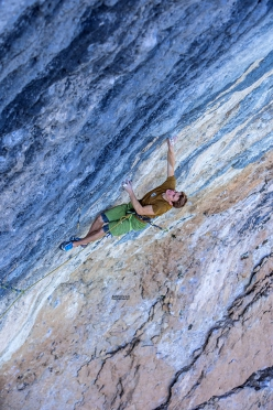 Seb Bouin making the first repeat of Mamichula, the 9b freed in 2017 by Adam Ondra at Oliana in Spain