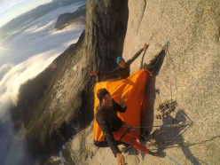 Ulamertorsuaq in Greenland: Marcos Costa and Vinicius Todero at the bivy while making the first ascent of Quajanaq (08/2018)