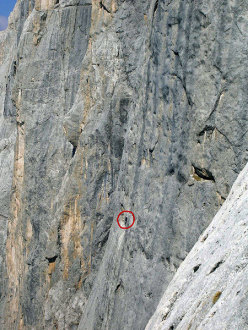 The historic photo of Hansjörg Auer making his free solo ascent of Attraverso il Pesce - Fish route up the Marmolada, Dolomites. The photo was taken on 29/04/2007 by Heinz Zander from the nearby climb Don Quixote