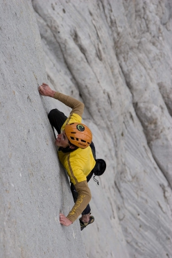 Hansjörg Auer free solo climbing the Fish route, Marmolada, 2007. A week after his ropeless ascent the Austrian returned with his brother Matthias and the photographer Heiko Wilhelm to shoot this photo.