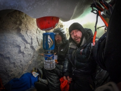 Jannu East Face: Sergey Nilov and Dmitry Golovchenko at a bivy in a crevasse while making the first ascent of Unfinished Sympathy